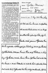 Letzter Brief des Vaters aus dem KZ Dachau