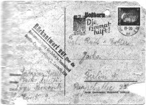 Letztes Lebenszeichen des Vaters aus dem KZ Monowitz